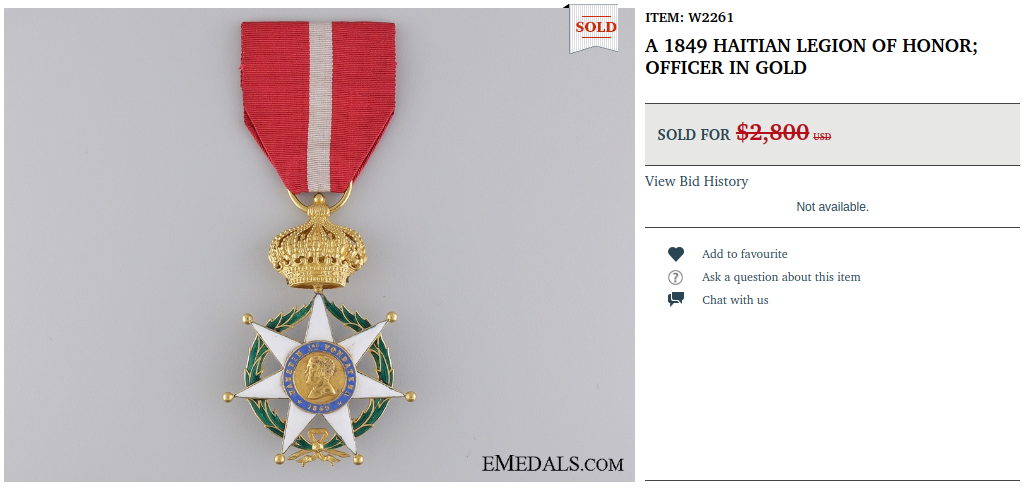 A 1849 Haitian Legion of Honor sold for 2.800 USD